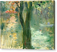 Sunset Over The Lake Bois De Boulogne Acrylic Print by Berthe Morisot