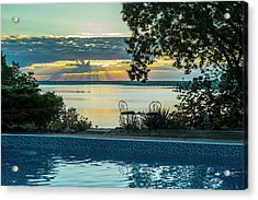 Sunset Over The St. Lawrence River Acrylic Print by Jacques Laurent