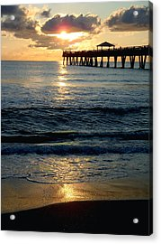 Sunset Pier Acrylic Print by Carey Chen