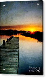 Sunset Pier Acrylic Print by Joan McCool