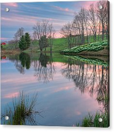 Sunset Reflections Square Acrylic Print by Bill Wakeley