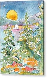 Sunset Sail On Waskesiu Lake Acrylic Print by Pat Katz