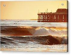 Sunset Surf Santa Cruz Acrylic Print by Paul Topp