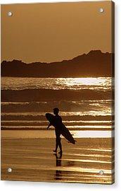 Sunset Surfer Acrylic Print by Ramona Johnston