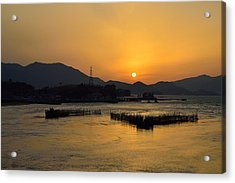 Sunset With Facility For Fishing Anchovy By Flow Of Sea Water Acrylic Print by Sihyeon Park