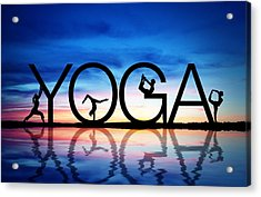 Sunset Yoga Acrylic Print by Aged Pixel