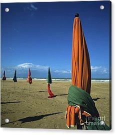 Sunshade On The Beach. Deauville. Normandy. France Acrylic Print by Bernard Jaubert