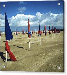 Sunshades On The Beach. Deauville. Normandy. France. Europe Acrylic Print by Bernard Jaubert