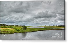 Sunshine And Heavy Clouds Over Dennisport Acrylic Print by Michelle Wiarda