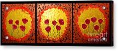 Sunshine Poppies - Abstract Oil Painting Original Metallic Gold Textured Modern Contemporary Art Acrylic Print by Emma Lambert