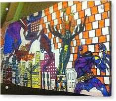 Super Heroes Acrylic Print by Mj  Museum