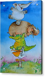 Super Mouse Pen & Ink And Wc On Paper Acrylic Print by Maylee Christie
