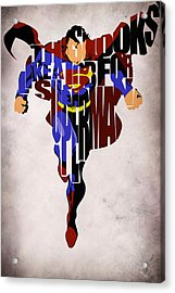 Superman - Man Of Steel Acrylic Print by Ayse Deniz