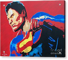 Superman - Red Sky Acrylic Print by Kelly Hartman