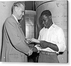 Supervisor Rewards Worker Acrylic Print by Underwood Archives