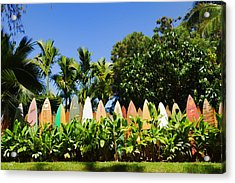 Surfboard Fence - Left Side Acrylic Print by Paulette B Wright