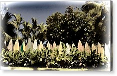 Surfboard Fence - Old Postcard Acrylic Print by Paulette B Wright