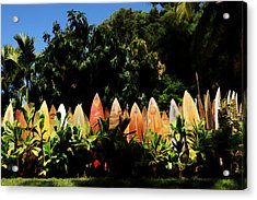 Surfboard Fence - Right Side Acrylic Print by Paulette B Wright