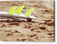 Surfboard Fins Acrylic Print by Carlos Caetano