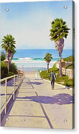 Surfer Dude At Fletcher Cove Acrylic Print by Mary Helmreich
