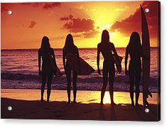 Surfer Girl Silhouettes Acrylic Print by Sean Davey