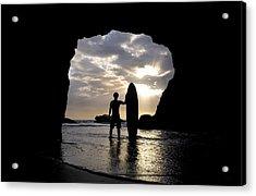 Surfer Inside A Cave At Muriwai New Acrylic Print by Deddeda