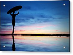 Surfer Silhouette Acrylic Print by Aged Pixel
