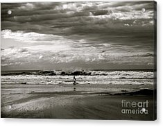 Surfers B And W Acrylic Print by Colleen Mars