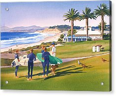 Surfers Gathering At Del Mar Beach Acrylic Print by Mary Helmreich