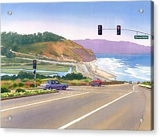 Surfers On Pch At Torrey Pines Acrylic Print by Mary Helmreich