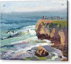 Surfing At Steamers Lane Santa Cruz Acrylic Print by Suzanne Elliott