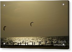 Surfing At Sunset 02 Acrylic Print by Arik Baltinester
