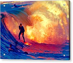 Surfing On A Sea Of Flames Acrylic Print by Elaine Plesser