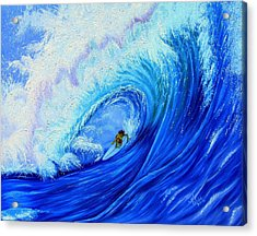 Surfing The Wild Wave Acrylic Print by Kathern Welsh