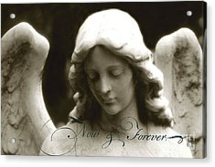 Angel Photography - Beautiful Angel Face With Inspirational Message Acrylic Print by Kathy Fornal