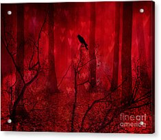 Surreal Fantasy Gothic Red Woodlands Raven Trees Acrylic Print by Kathy Fornal