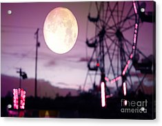 Surreal Fantasy Purple Night Ferris Wheel Full Moon  Acrylic Print by Kathy Fornal