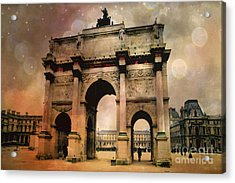 Surreal Paris Arc De Triomphe Louvre Arch Courtyard Sepia Soft Bokeh Acrylic Print by Kathy Fornal