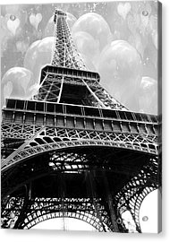 Surreal Paris Black And White Eiffel Tower With Balloons - Black And White Paris Fine Art Acrylic Print by Kathy Fornal