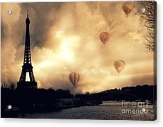 Surreal Paris Eiffel Tower Storm Clouds Sunset Sepia And Hot Air Balloons Acrylic Print by Kathy Fornal