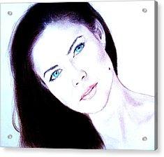 Susan Ward Blue Eyed Beauty With A Mole II Acrylic Print by Jim Fitzpatrick