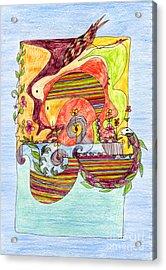 Sustainable Fish Pond Acrylic Print by Mukta Gupta