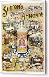 Sutton's Compound Cream Of Ammonia Vintage Ad Acrylic Print by Gianfranco Weiss