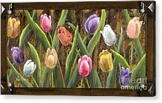 Sweet Tulips With Frame Andgold Leaf By Vic Mastis Acrylic Print by Vic  Mastis