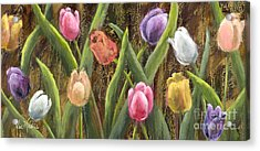 Sweet Tulips With Gold Leaf By Vic Mastis Acrylic Print by Vic  Mastis