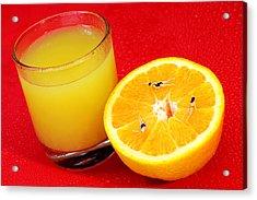Swimming On Orange Little People On Food Acrylic Print by Paul Ge