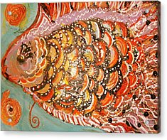 Swishy Fancy Fishy Acrylic Print by Anne-Elizabeth Whiteway