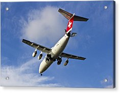 Swiss Air Bae146 Hb-ixw Acrylic Print by David Pyatt