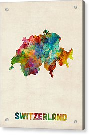 Switzerland Watercolor Map Acrylic Print by Michael Tompsett