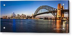 Sydney Harbour Evening Panorama Acrylic Print by Colin and Linda McKie